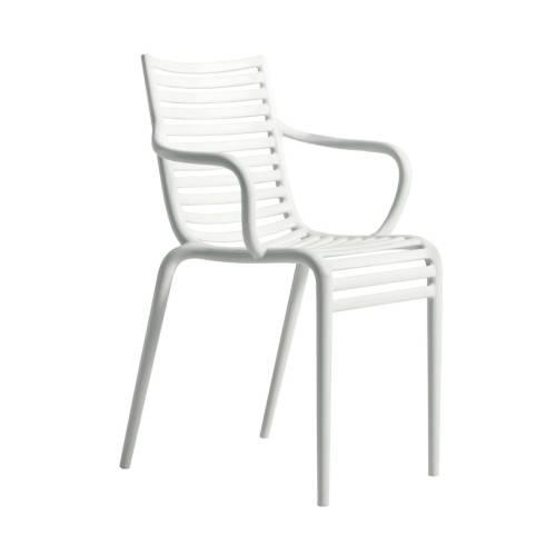 PIP-e Gartenstuhl mit Armlehne weiß (B4)