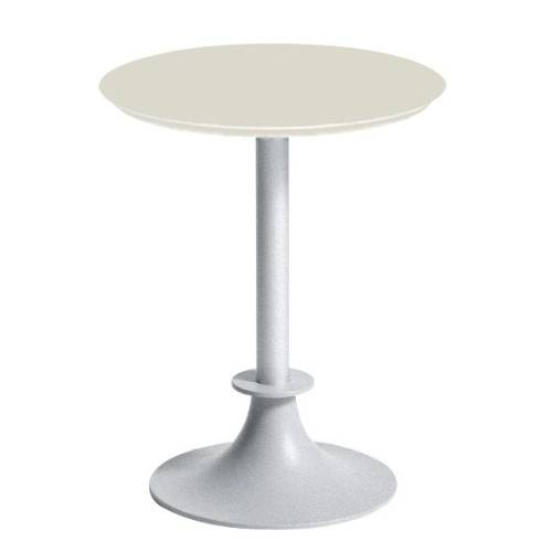 Tisch LORD YI Gartentisch silber / Platte rund SAN elfenbein