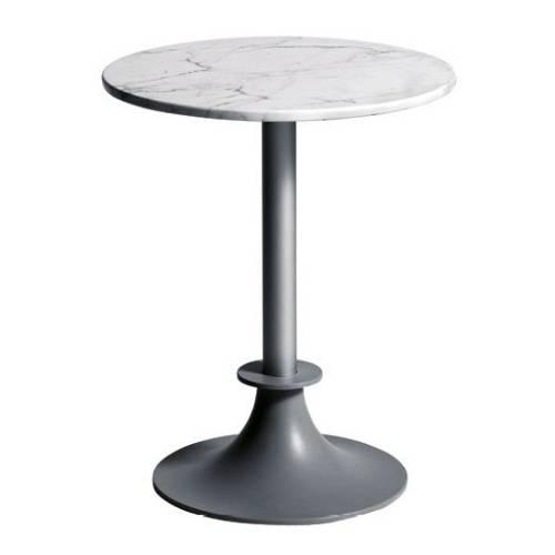 Tisch LORD YI Gartentisch silber / Platte rund Calacatta Carrara Marmor weiß