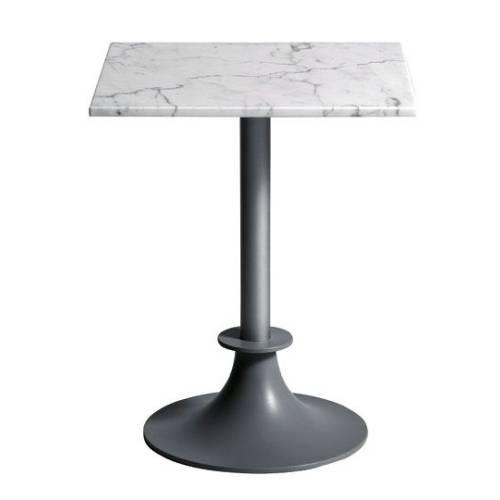 Tisch LORD YI Gartentisch silber / Platte eckig Calacatta Carrara Marmor weiß