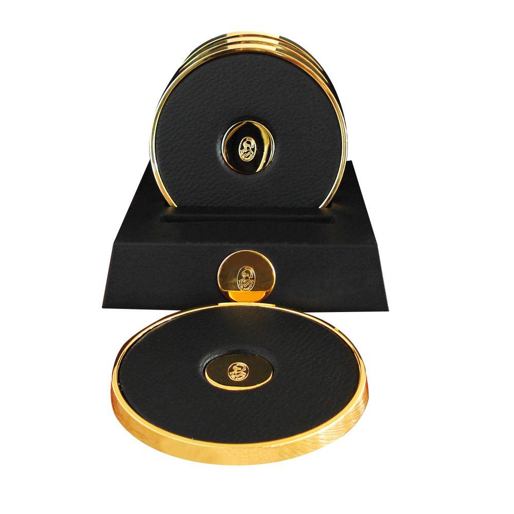 El Casco Glasuntersetzer M653 L, 23 Karat vergoldet / Leder schwarz