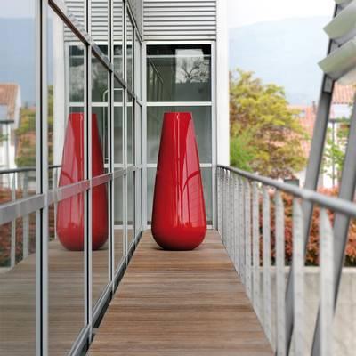 BUBA Pflanzvase hochglanzlackiert rot