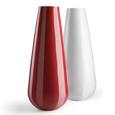 BUBA Pflanzvase hochglanzlackiert, rot und weiß