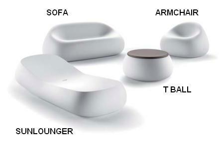 GUMBALL Sofa, Sessel, Sonnenliege und T-Ball-Gartentisch