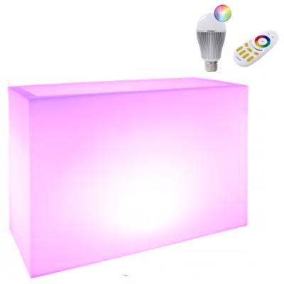 KUBE HIGH Pflanzkübel mit LED-Glühbirne und Funk-Fernbedienung