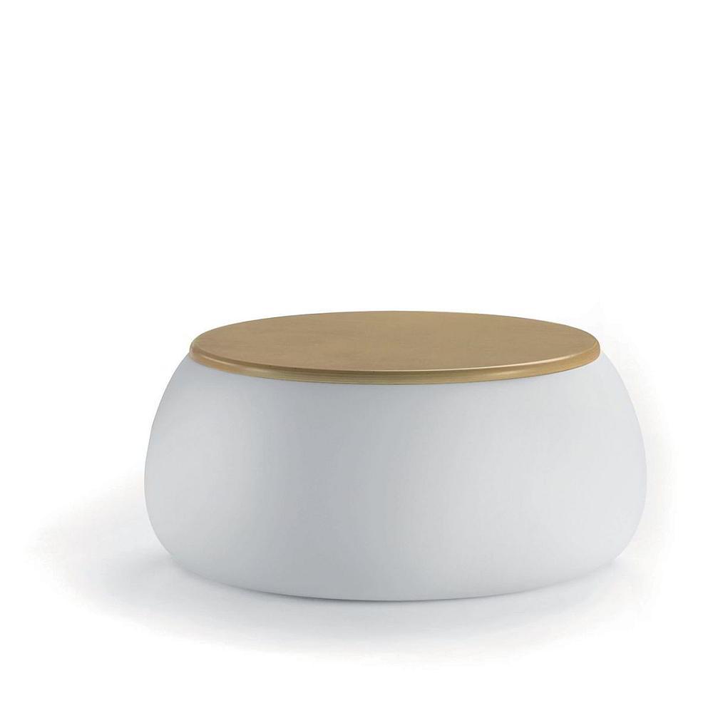 T-BALL Gartentisch weiß, Platte Birke