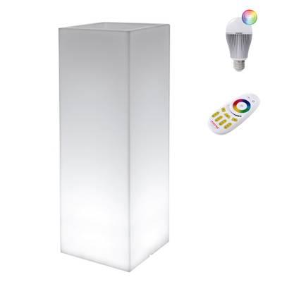KUBE HIGH SLIM Pflanzsäule, mit LED-Funk-Glühbirne