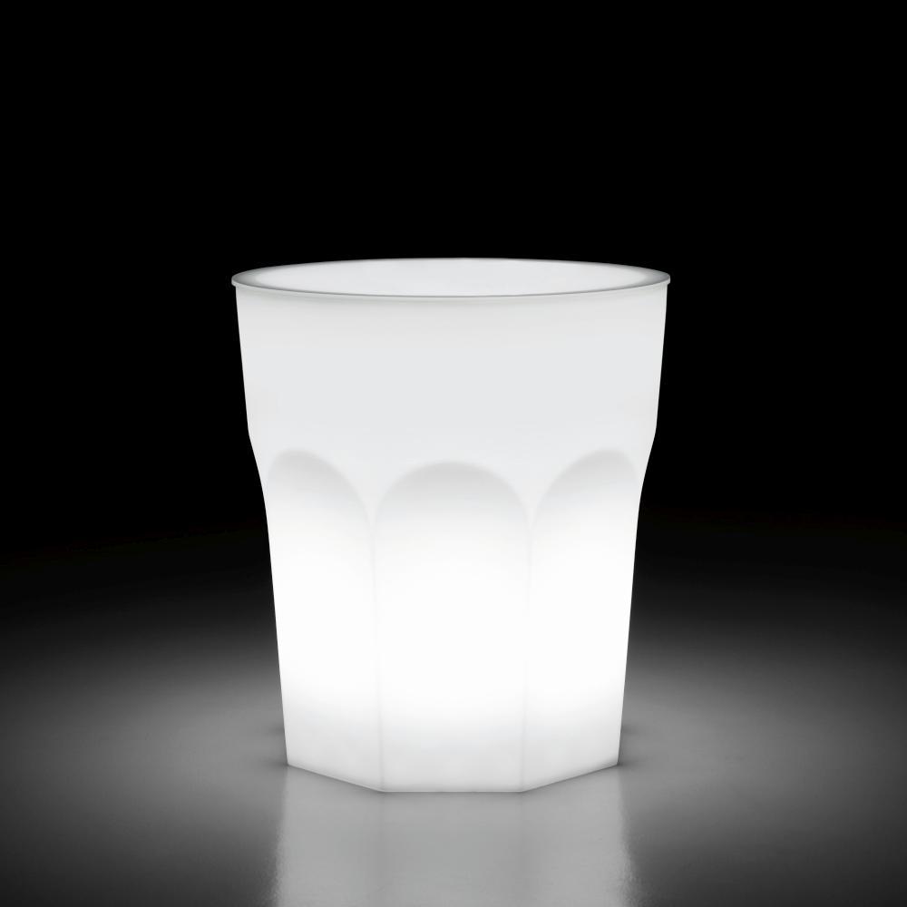 CUBALIBRE Stehtisch beleuchtet Indoor, Ø 90 cm, mit Platte Acrylglas