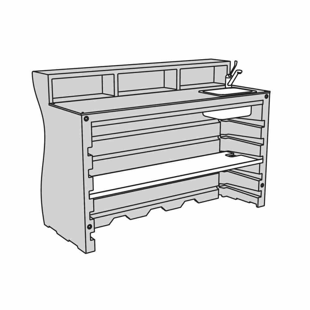 V1: Bar + 1 Regalboden + Spülbecken inkl. Wasserhahn