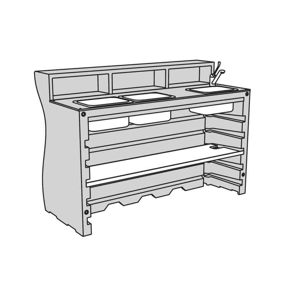 V3: Bar + 1 Regalboden + Spülbecken inkl. Wasserhahn + 2 Extrabecken
