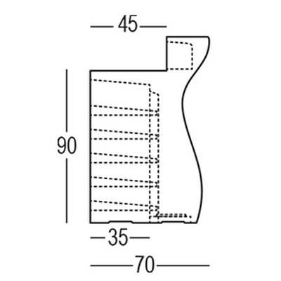 Maße BARTOLOMEO Bar gerades Element in Seitenansicht
