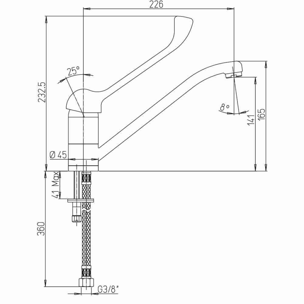 Technische Zeichnung Wasserhahn