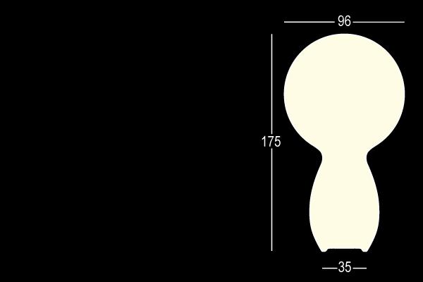 TRIM LIGHT Stehleuchte Vermassung ohne Bodenplatte