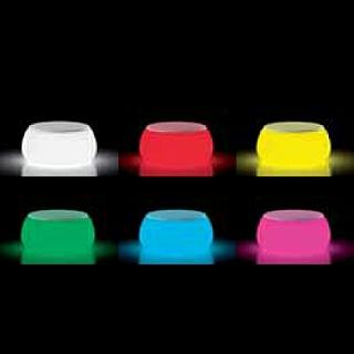 T-BALL Gartentisch RGBW beleuchtet Indoor und Outdoor, Polythylene-Top weiß