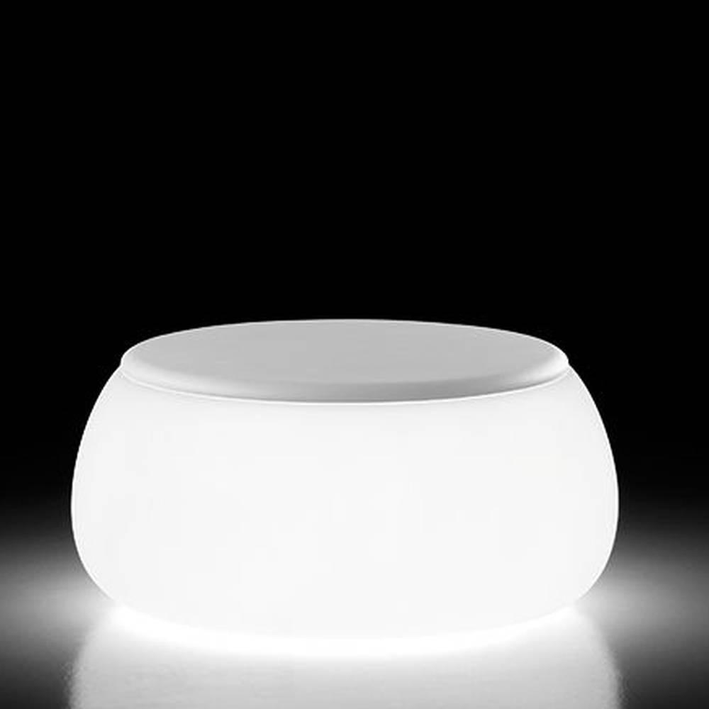 T-BALL Gartentisch beleuchtet Indoor, Polythylene-Top weiß