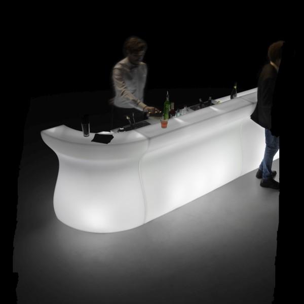 BARTOLOMEO beleuchtete Bar weiß beleuchtet, hier mit 2 geraden Elementen