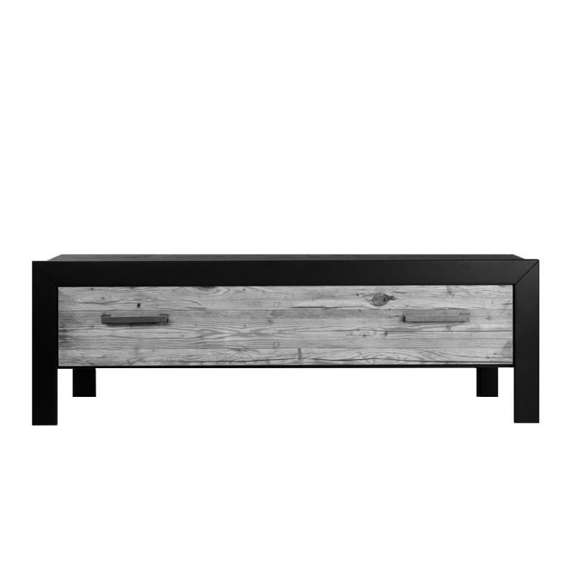 Kommode marian 140 mit 1 Schublade, Fichte Altholz grau gewurmt, Rahmen Eiche schwarz