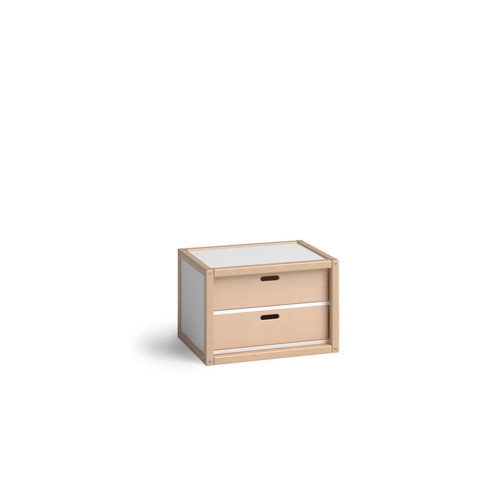 PROFILSYSTEM Hängecontainer mit 2 Schubladen Buche natur / weiß