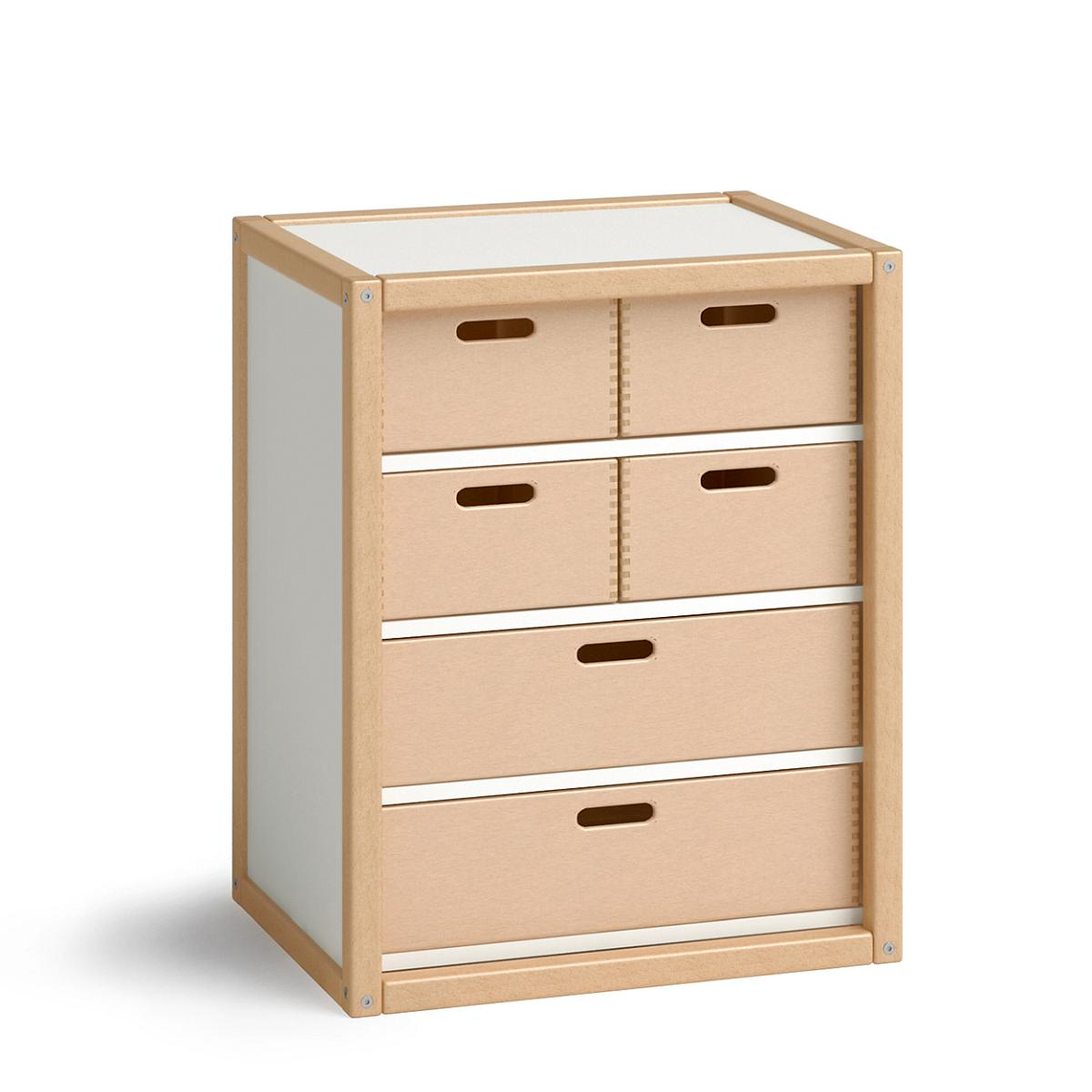 PROFILSYSTEM Container mit 6 Schubladen, 8435.3.05, Buche natur / weiß