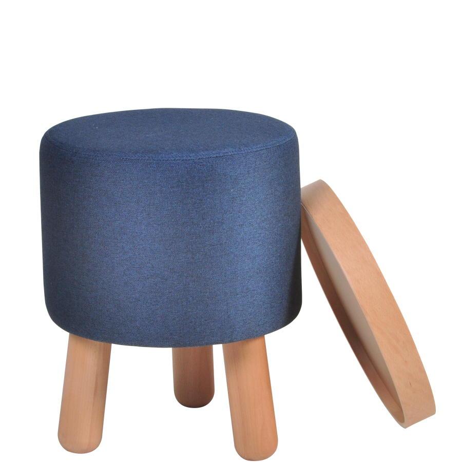 MOLDE Hocker klein blau mit abnehmbaren Tablett