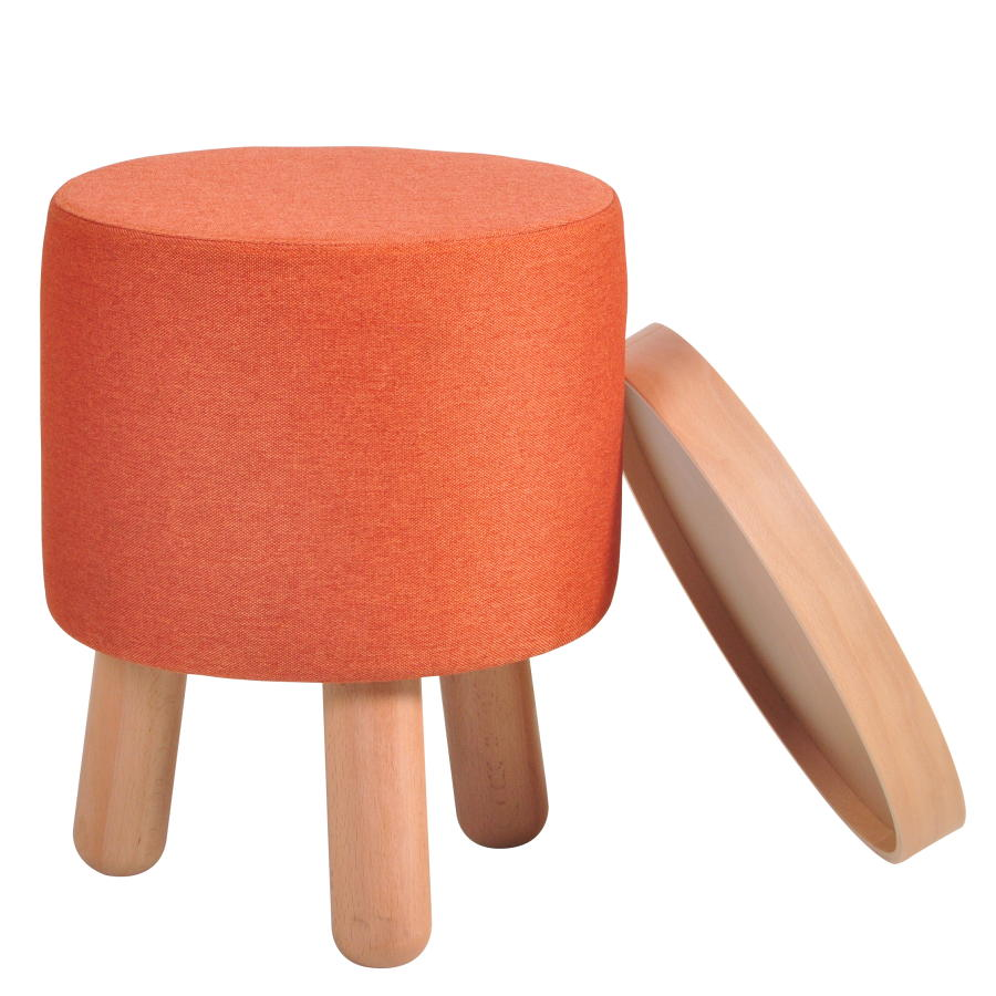 MOLDE Hocker klein orange mit abnehmbaren Tablett