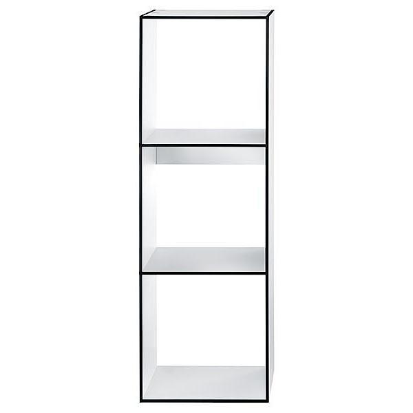 LIBRARY Regal 1x3 HPL weiß mit dunkler Kante