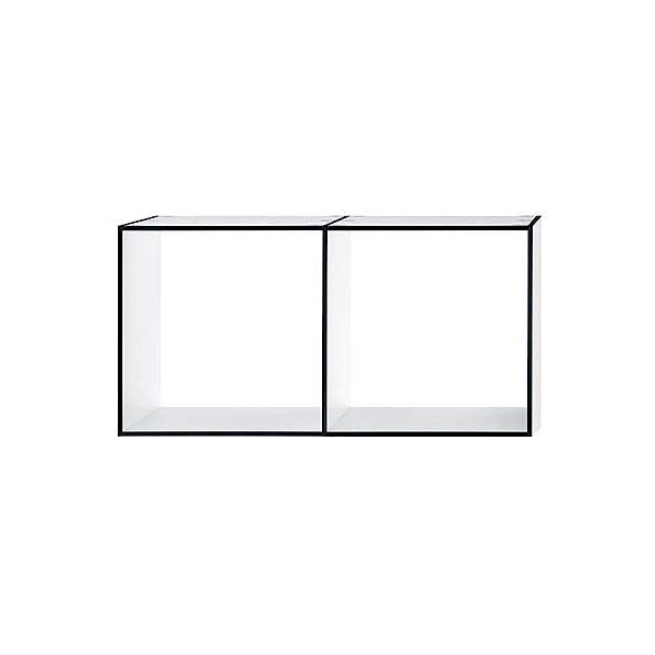 LIBRARY Regal 2x1 HPL weiß mit dunkler Kante