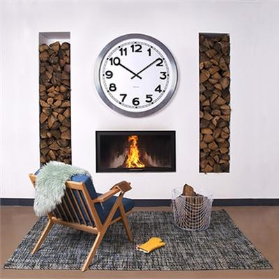 Wall clock Giant numbers brushed alu