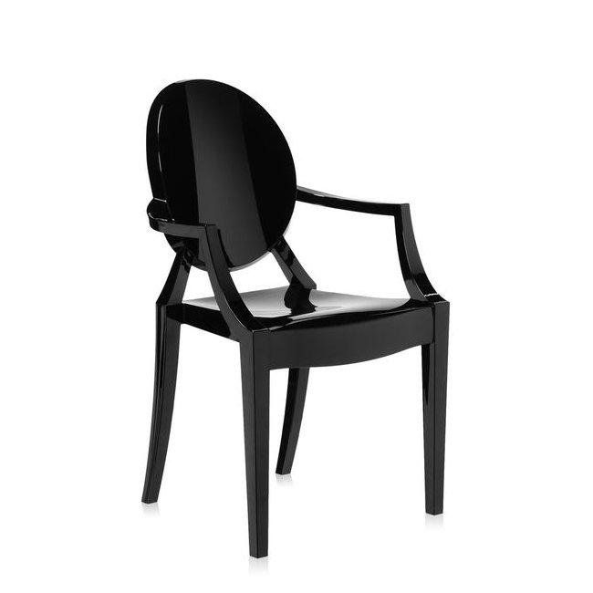 Louis Ghost Armlehnstuhl undurchsichtig glänzend schwarz