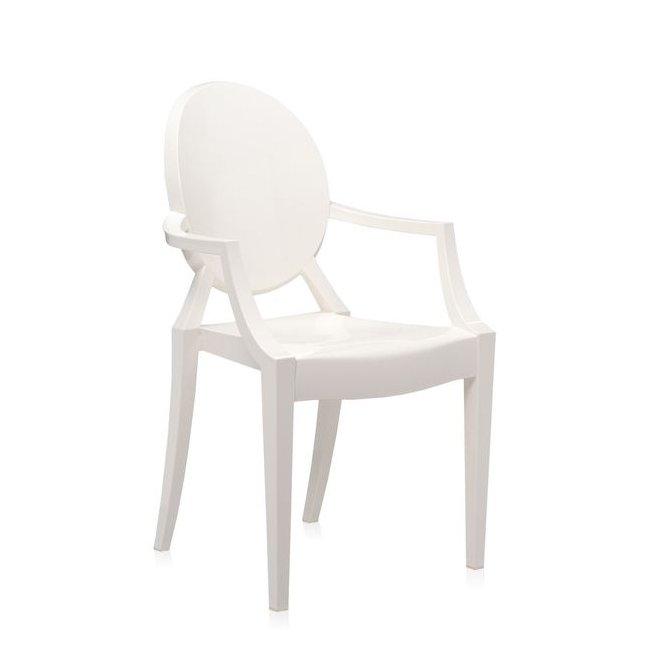Louis Ghost Armlehnstuhl undurchsichtig glänzend weiß