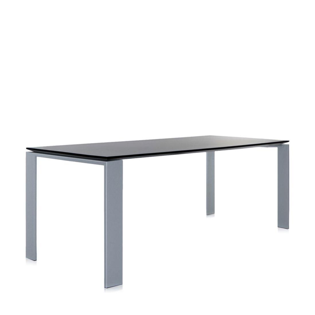 Four Tisch 158 Beine alu, Platte schwarz