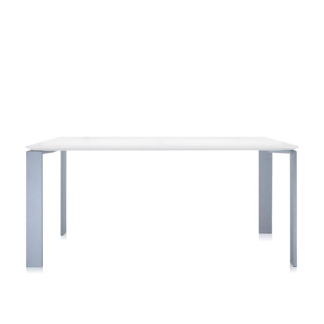 Four Tisch 190 Beine alu, Platte weiß