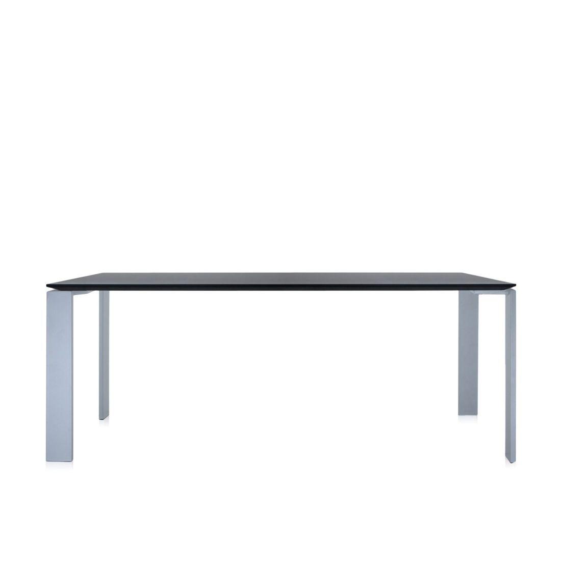 Four Tisch 190 Beine alu, Platte schwarz