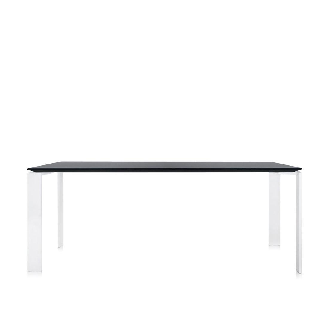 Four Tisch 190 Beine weiß, Platte schwarz