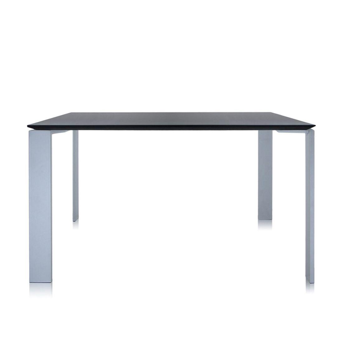 Four Tisch 128 x 128 Beine alu, Platte schwarz