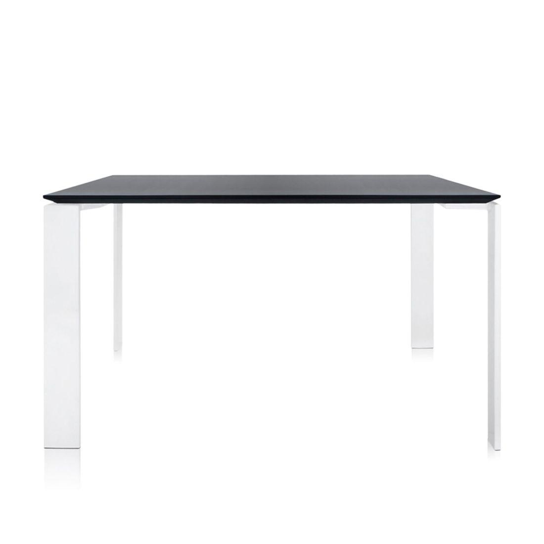 Four Tisch 128 x 128 Beine schwarz, Platte weiß