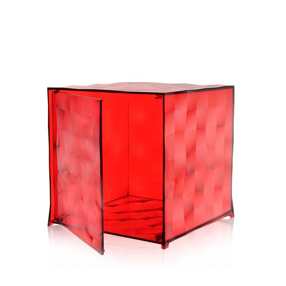 OPTIC Container mit Tür rot transparent