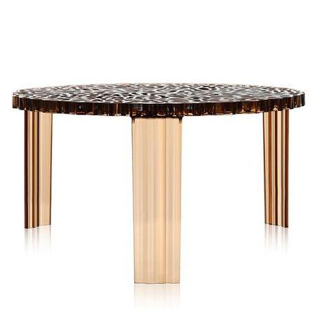 T-Table Couchtisch Höhe 28 cm transparent bernsteinfarben