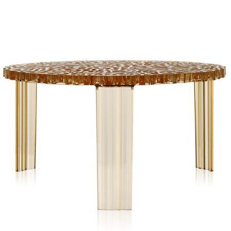 T-Table Beistelltisch Höhe 28 cm transparent gelb