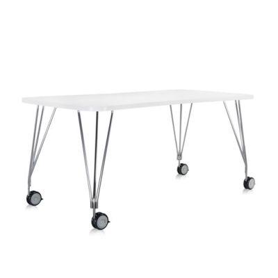 MAX Tisch mit Rollen, 180 x 60 cm, zinkweiß