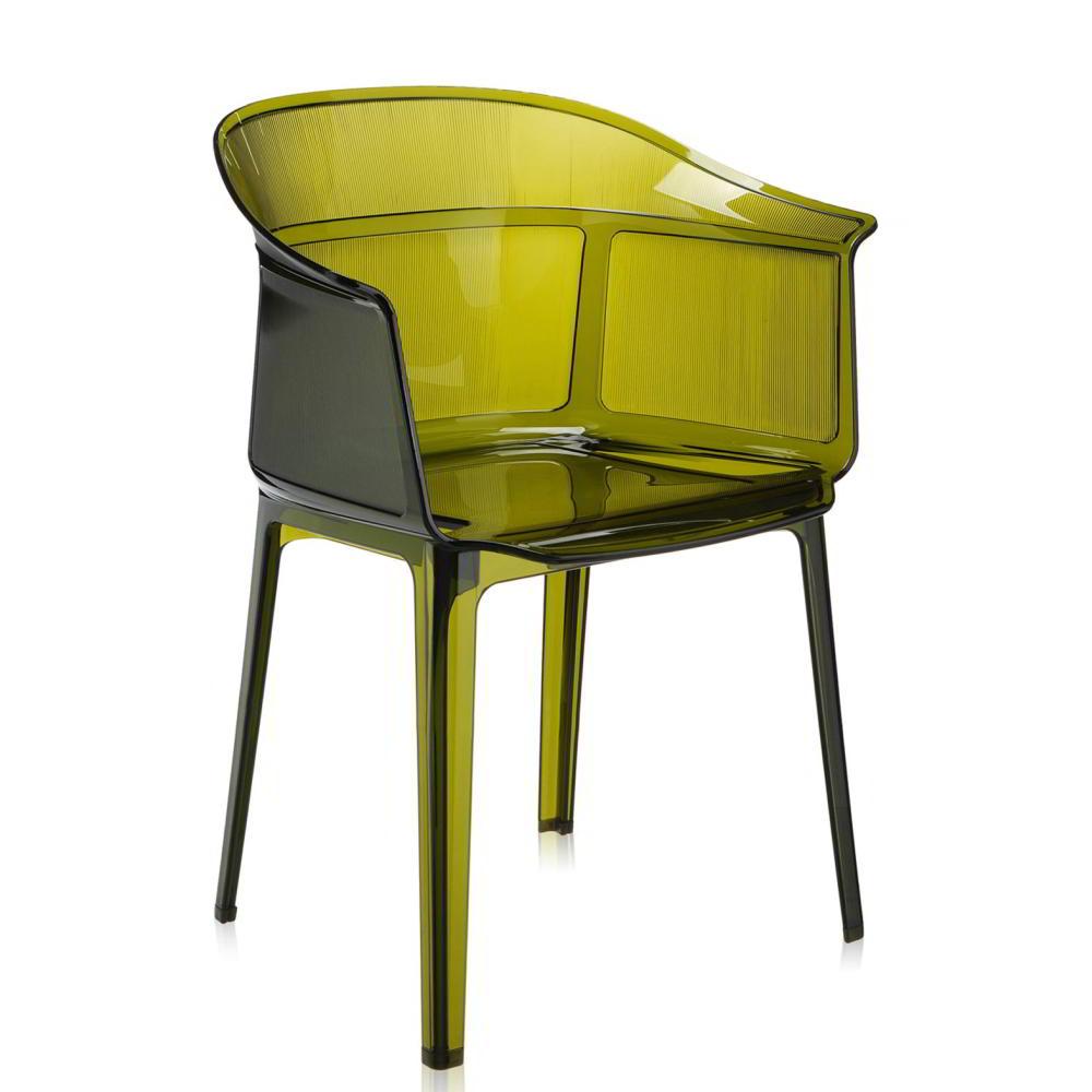 PAPYRUS Sessel 2er-Set, stapelbar, transparent olivgrün (Z3)