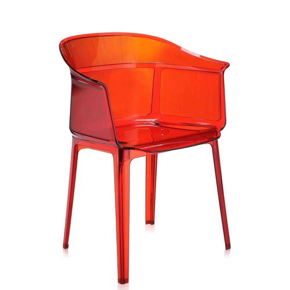 PAPYRUS Sessel 2er-Set, stapelbar, transparent rot orange (Z1)