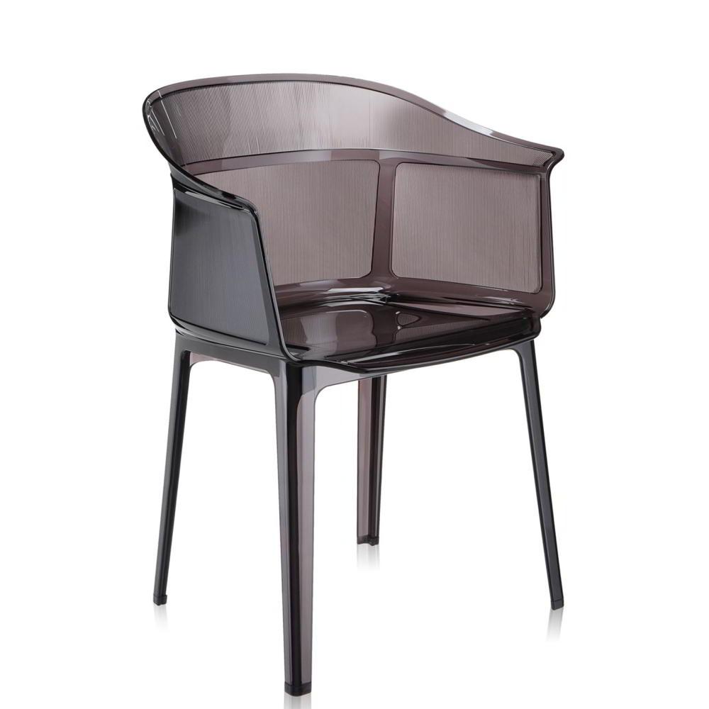 PAPYRUS Sessel 2er-Set, stapelbar, transparent rauch graubraun (Z5)