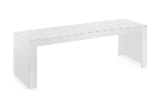 Invisible Side Couchtisch, Höhe 40 cm deckend glänzendes Weiß