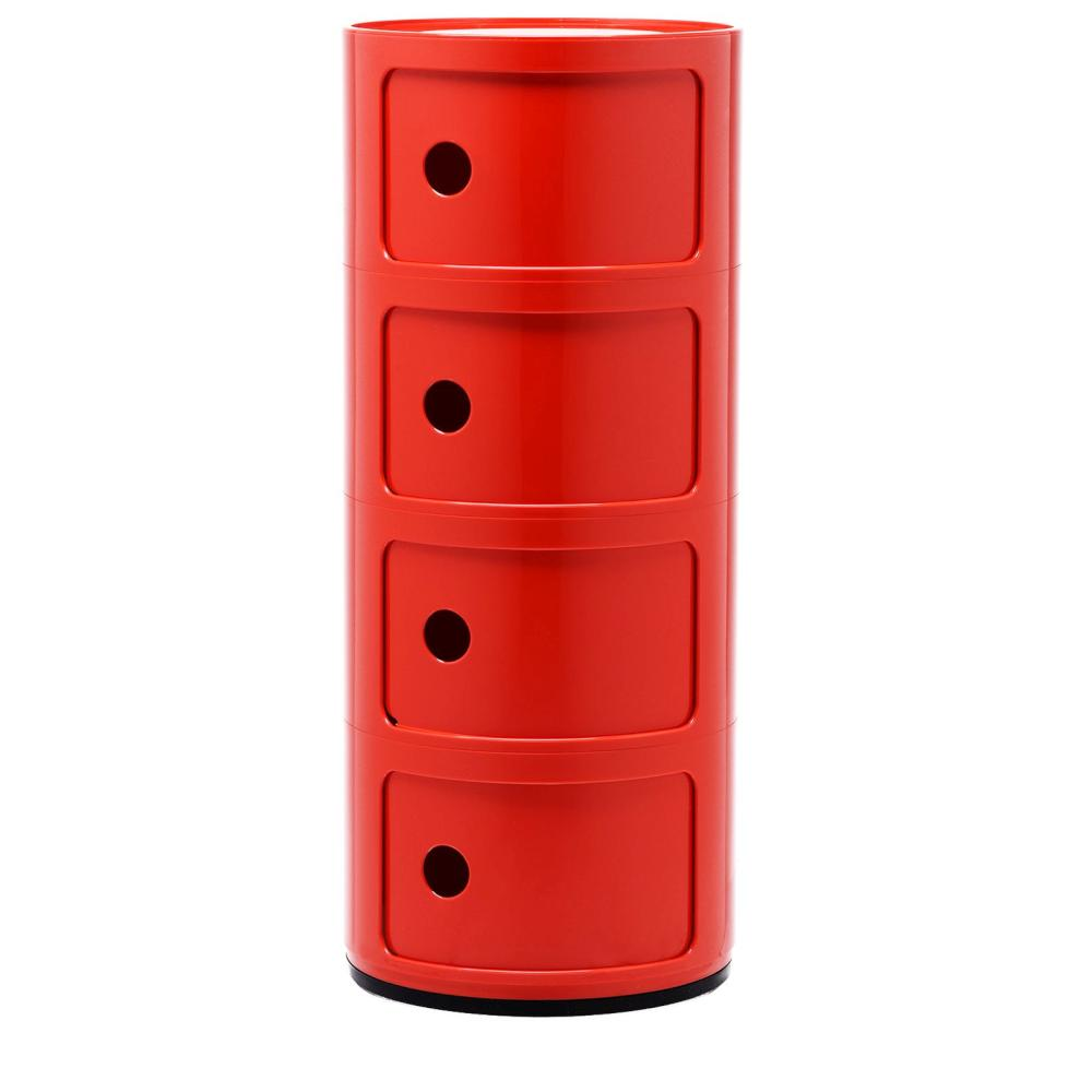 Componibili Fix-Container, Ø 32 cm, Höhe 77 cm mit 4 Elementen rot
