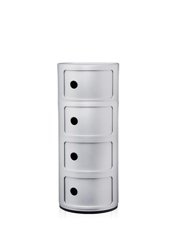 Componibili Fix-Container, Ø 32 cm, Höhe 77 cm mit 4 Elementen silber