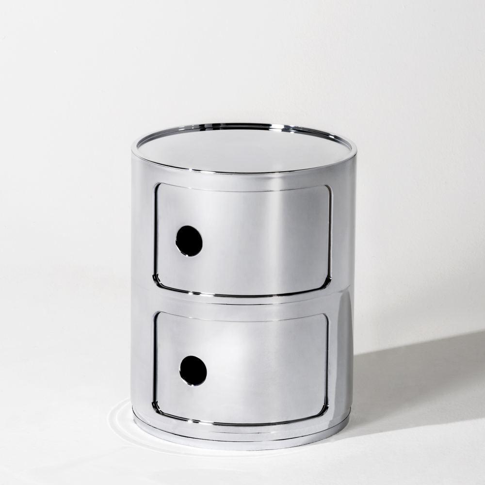 COMPONIBILI Container 2 Fächer chrom metallisiert