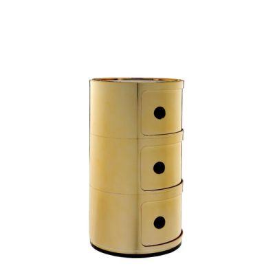 Seitenansicht COMPONIBILI Container 3 Fächer gold