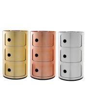 COMPONIBILI Container Metalloptik 3 F�cher, Hersteller Kartell M�bel, Designer Anna Castelli Ferrieri