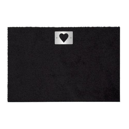 heart Fußmatte 87 x 57 cm, mit Edelstahl-Schild Herz, schwarz
